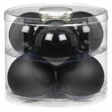 Tubes met 12x zwarte kerstballen van glas 10 cm glans en mat