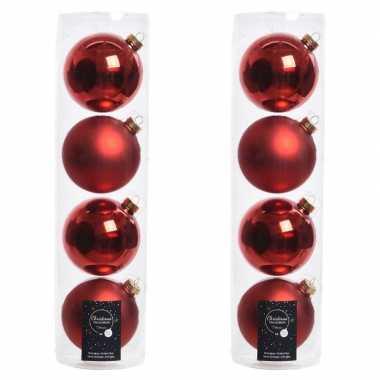Tubes met 8x kerst rode kerstballen van glas 10 cm glans en mat