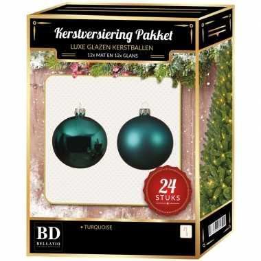 Turquoise blauwe kerstversiering kerstballen 24-delig 6 en 8 cm