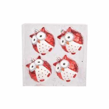 Uil kerstballen rood 4 stuks