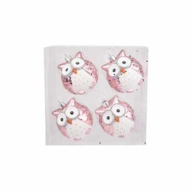 Uilen kerstversiering kerstballen roze 4 stuks