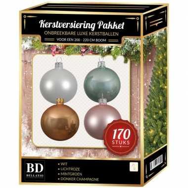 Wit/donker champagne/mintgroen/lichtroze kerstballen pakket 170-delig voor 210 cm boom