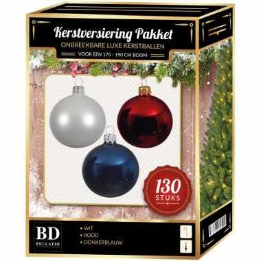 Witte/donkerblauwe/kerst rode kerstballen pakket 130-delig voor 180 cm boom