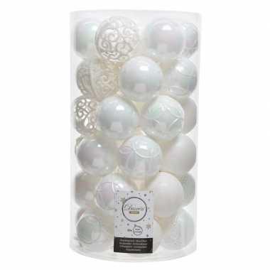 Witte kerstballen set 36 stuks