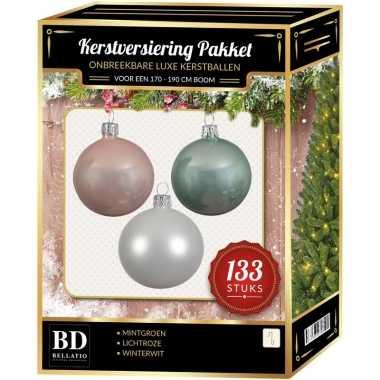 Witte/mintgroene/lichtroze kerstballen pakket 133-delig voor 180 cm boom