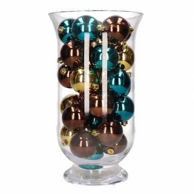 Woondecoratie vaas met bruin/gouden kerstballen