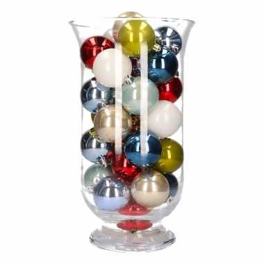 Woondecoratie vaas met gekleurde kerstballen 10098860