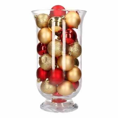 Woondecoratie vaas met goud/rode kerstballen