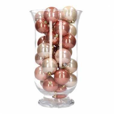 Woondecoratie vaas met roze mix kerstballen