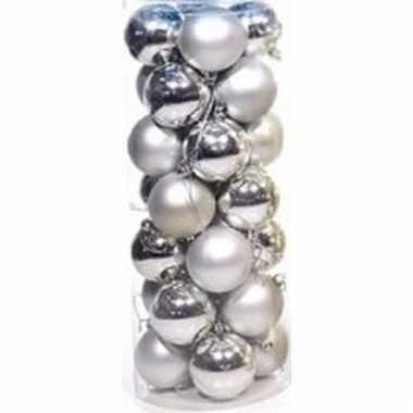 Zilveren kerstballen 28 stuks 6 cm