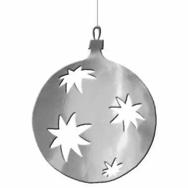 Zilveren kerstballen hangdecoratie 40 cm