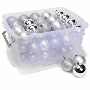 Zilveren kerstballen in opbergbox 70 stuks