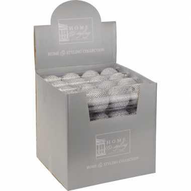 Zilveren kerstballen met strass steentjes 4 stuks