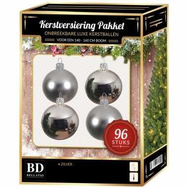 Zilveren kerstballen pakket 96-delig voor 180 cm boom
