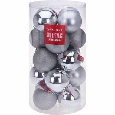 Zilveren kerstballen set 12 cm