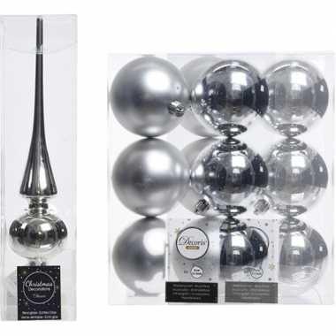 Zilveren kerstversiering/kerstdecoratie set piek en 12x kerstballen 8