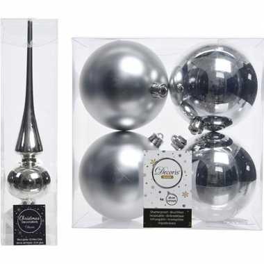 Zilveren kerstversiering/kerstdecoratie set piek en 4x kerstballen 10