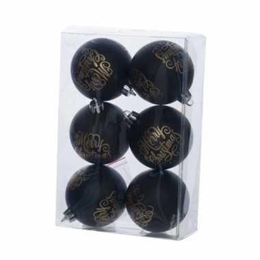 Zwarte kerstballen van kunststof 7 cm