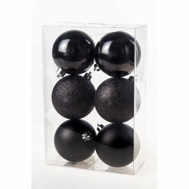 Zwarte kerstballen van kunststof 8 cm