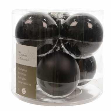 Zwarte kerstballenset glas 6 stuks