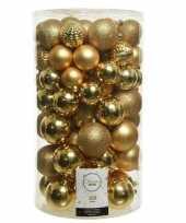 100x kunststof kerstballen mix goud 4 5 6 7 8 cm kerstboom versiering decoratie