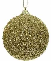 10x kerstballen gouden glitters 8 cm met kralen kunststof kerstboom versiering decoratie