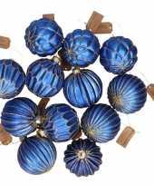 12x blauwe glazen kerstballen met gouden design 6 cm
