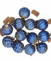 12x blauwe glazen kerstballen met gouden design 8 cm