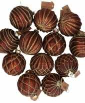 12x bruine glazen kerstballen met gouden design 8 cm