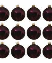 12x glazen kerstballen glans aubergine paars 10 cm kerstboom versiering decoratie
