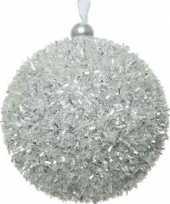 12x kerstballen zilver sneeuwbal 8 cm met glitterskunststof kerstboom versiering decoratie
