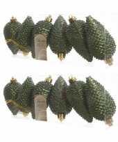 12x kunststof dennenappel kerstballen glitter donkergroen 8 cm kerstboom versiering decoratie