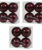 12x kunststof kerstballen glanzend bordeaux rood 12 cm kerstboom versiering decoratie