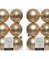 12x kunststof kerstballen glanzend mat donker parel champagne 8 cm kerstboom versiering decoratie