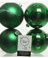 12x kunststof kerstballen glanzend mat kerst groen 10 cm kerstboom versiering decoratie