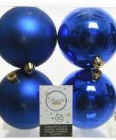 12x kunststof kerstballen glanzend mat kobalt blauw 10 cm kerstboom versiering decoratie