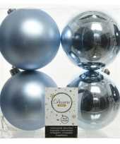 12x kunststof kerstballen glanzend mat lichtblauw 10 cm kerstboom versiering decoratie