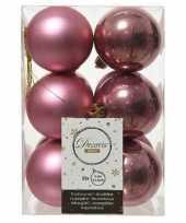 12x kunststof kerstballen glanzend mat oud roze 6 cm kerstboom versiering decoratie