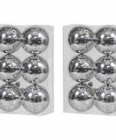 12x kunststof kerstballen glanzend zilver 10 cm kerstboom versiering decoratie
