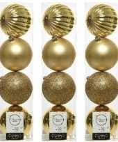 12x kunststof kerstballen mix licht goud 10 cm kerstboom versiering decoratie