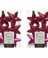 12x kunststof sterren kerstballen glans mat glitter bessen roze 7 cm kerstboom versiering decoratie
