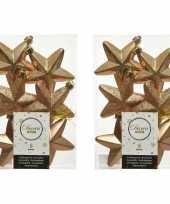 12x kunststof sterren kerstballen glans mat glitter camel bruin 7 cm kerstboom versiering decoratie