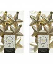 12x kunststof sterren kerstballen glans mat glitter champagne 7 cm kerstboom versiering decoratie