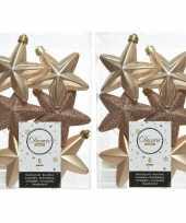 12x kunststof sterren kerstballen glans mat glitter donker parel champagne 7 cm kerstboom versiering decoratie
