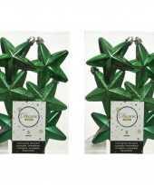 12x kunststof sterren kerstballen glans mat glitter kerst groen 7 cm kerstboom versiering decoratie