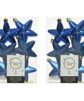 12x kunststof sterren kerstballen glans mat glitter kobalt blauw 7 cm kerstboom versiering decoratie