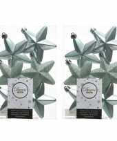 12x kunststof sterren kerstballen glans mat glitter mintgroen 7 cm kerstboom versiering decoratie