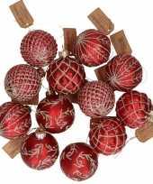 12x rode glazen kerstballen met gouden design 6 cm