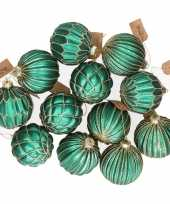 12x turquoise blauwe glazen kerstballen met gouden design 8 cm
