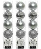 15x kunststof kerstballen mix zilver 8 cm kerstboom versiering decoratie